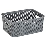 Simplify Small Herringbone Bin in Grey Storage Basket