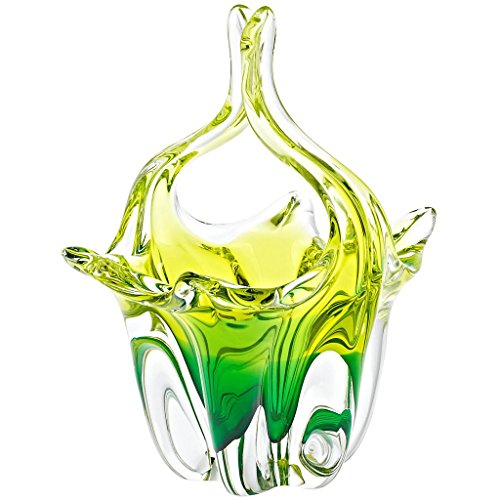 (CRISTALICA Glass Basket, Decorative baske Murano Sky grenn/Yellow, 24 cm, Glass, Modern Style (ARTGLASS)
