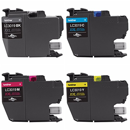 Genuine Brother LC3019 (LC-3019) (BK/C/M/Y) High Yield Color Ink 4-Pack (Includes 1 each LC3019BK, LC3019C, LC3019M, LC3019Y)