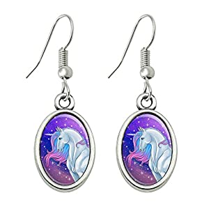 GRAPHICS & MORE Majestic Unicorn Pink Purple Blue Novelty Dangling Drop Oval Charm Earrings