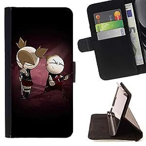Momo Phone Case / Flip Funda de Cuero Case Cover - Punky lindo Pareja - Apple Iphone 4 / 4S