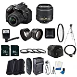 Nikon D5300 Digital SLR Camera with 18-55mm f/3.5-5.6G ED VR II AF-S DX Lens (Black / Import) + EN-EL14 Replacement Li-on Battery  + Rapid Travel Charger + 64GB SDHC Class 10 Memory Card + 32GB SDHC Class 10 Memory Card + 52mm Macro Close Up Kit + 52mm Wide Angle Lens + 52mm 2.2x Telephoto Lens + 52mm UV Filter + Full Size Tripod + External Flash + Digital Carrying Case + Mini HDMI Cable + SDHC Card USB Reader + 6pc Starter Kit  + Memory Card Wallet + Lens Cap Keeper + Bonus Nikon DVD! Bundle