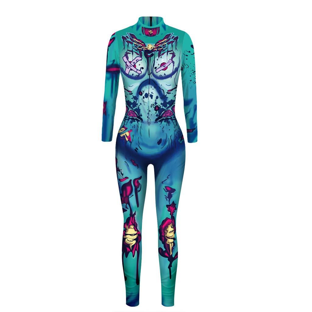 Fanteecy Women Halloween Costume Skeleton Print Bodycon Catsuit Jumpsuit 3D Skeleton Cosplay Jumpsuit Bodysuit