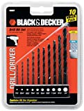 #1: BLACK+DECKER 15557 10-Piece Drill Bit Set