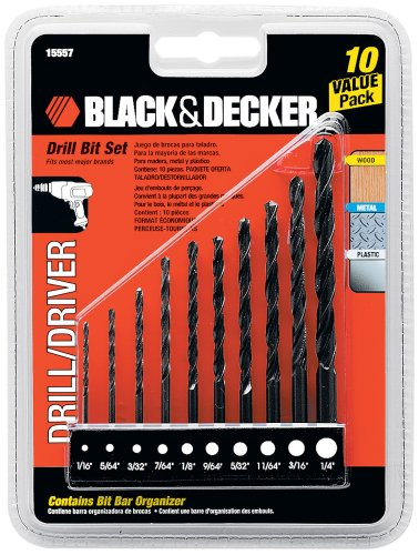 Black & Decker 15557 Drill Bit Set, 10-Piece (Drill Bit Wood)