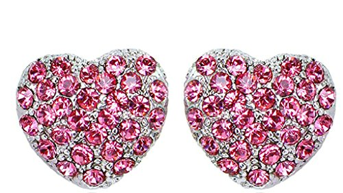 Beydodo 18k Gold Plated Women Earring (Stud Earrings) Heart Shape Pink