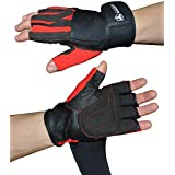 Weight Lifting Gloves (1 Pair) With Integrated Wrist Support - Premium Quality Leather - Superior Comfort, Support and Stability - Best Exercise Gloves for Men (Small)