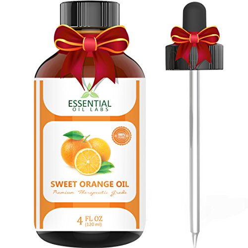 Sweet Orange Essential Oil - 100% Pure and Natural 4 Oz. with Glass Dropper - Therapeutic Grade - Uplift Your Mood - Wonderful Citrus Scent by Essential Oil - Perfume Orange Candle Bitter