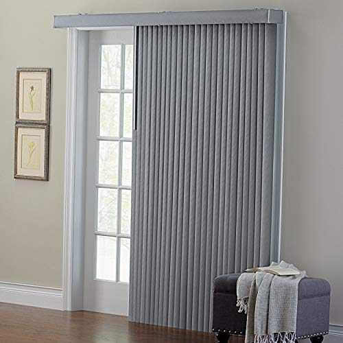 BrylaneHome Embossed Vertical Blinds - Grey, 78I W 84I L (Fabric Blinds Vertical)