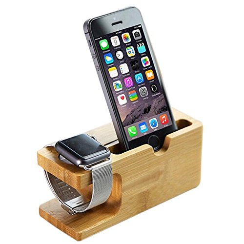 Gifts For Him Apple Watch Stand 2 in 1 Bamboo Wood Charging Station Dock Stand Bracket Cradle Mount Holder for Apple Watch(38mm&42mm) iPhone X 8Plus 8 7Plus 7 SE 6s Plus 6s