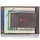 Alpine Swiss Men's Wallet Leather Money Clip Thin Slim Front Pocket Wallet, Gray