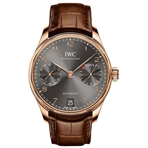 (IWC Portugeiser Slate Grey Dial 18K Rose Gold Automatic Mens Watch IW500702 )