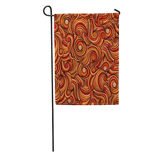 - Semtomn Garden Flag Orange Batik Doodle Doodling Pattern Brown Swirl Abstract Paisley Retro Home Yard House Decor Barnner Outdoor Stand 12x18 Inches Flag
