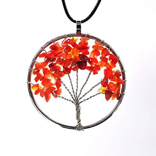 Tree of Life Pendant Amethyst Rose Crystal Necklace Gemstone Chakra Jewelry (Onyx)