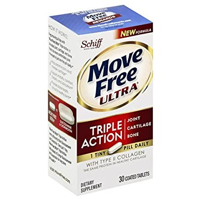 Move Free Ultra Triple Action Joint Supplement with Type II Collagen, Hyaluronic Acid, and Boron for Joint, Cartilage, and Bone Support, 30 tablets