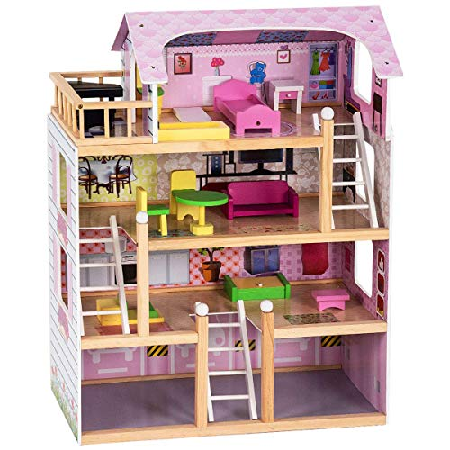 Costzon Dollhouse, Toy Family House with 13 pcs Furniture, Play Accessories, Cottage Uptown Doll House, Doll Playhouse Cottage Set