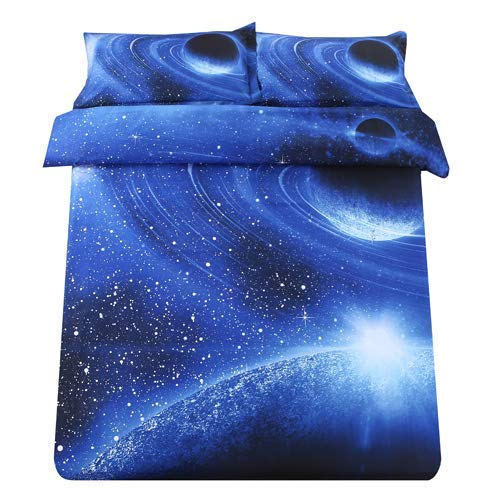 (Sandyshow Galaxy Unicorn 2PC Duvet Cover Sets Pegasus Out Space Bedding Twin Size For Boys And Girls, Wrinkle, Fade, Stain Resistant, Hypoallergenic (Twin, Blue Planet))