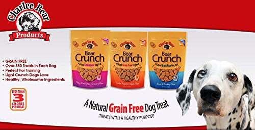 Charlee Bear Grain Free Bear Crunch Treats 3 Flavor Variety Bundle: (1) Bacon & Blueberry Flavor, (1) Chicken, Pumpkin & Apple Flavor, and (1) Turkey, Sweet Potato & Cranberry Flavor (3-Pack Assorted)