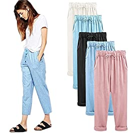 FarJing Pants for Womens,Clearance Sale Women Plus Size Casual Cotton Linen Pants Elastic Waist Summer Slim Lady Pants