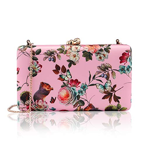 two the nines Women's Floral Print Satin Evening Bag Clutches Thin Chain Hardcase Pink