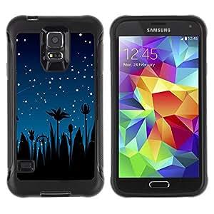 """Pulsar iFace Series Tpu silicona Carcasa Funda Case para Samsung Galaxy S5 V , Estrellas del cielo nocturno Blue Stars Shooting palmeras"""""""