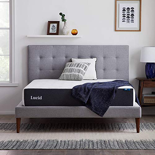 LUCID 10 Inch Memory Foam Firm Feel – Gel Infusion – Hypoallergenic Bamboo Charcoal – Breathable Cover Bed Mattress…