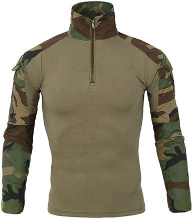 Hombres, Manga Larga, Cuello Alto, Camiseta Militar De Combate Camiseta Camo Rapid Joven Assault Zipper Sport Tops Camiseta Slim Fit Camisetas: Amazon.es: Ropa y accesorios