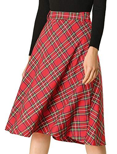 Allegra K Women's Tartan Plaid Belted High Waist Vintage A-Line Midi Skirt