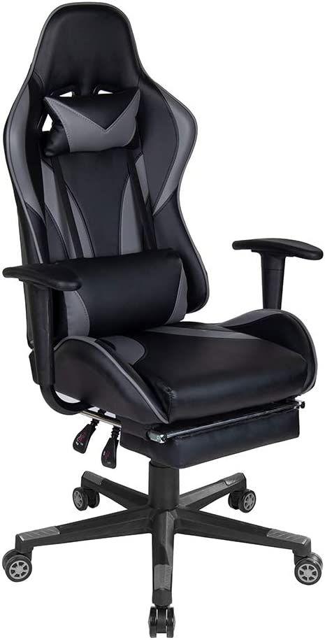 Polar Aurora Gaming Chair Racing Style High-Back PU Leather Office Chair Computer Desk Chair Executive Ergonomic Style Swivel Chair Headrest Lumbar Support (Grey & Black)