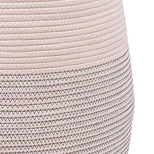 OrganiHaus XXXL Jumbo Size Cotton Rope Decorative Baskets for Blankets, Laundry or Decor – Large Oversized Blanket Basket for Living Room – Jumbo Off White