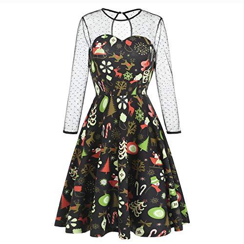 Blouses Women Ann Taylor,Women Christmas Net Patchwork Christmas Print Swing Draped Holiday Vintage Dress,Club & Night Out Dress,Black,XXL ()