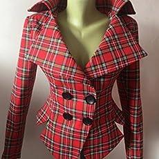 073697724 Red Tartan checked Royal Stewart tailored jacket/vintage style plaid  jacket// Checked steampunk lady blazer