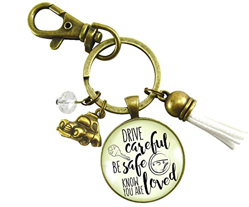 Drive Careful Be Safe Know You Are Loved Keychain New Driver Gift For Girl Keychain Sweet 16 White Tassel Car Charm
