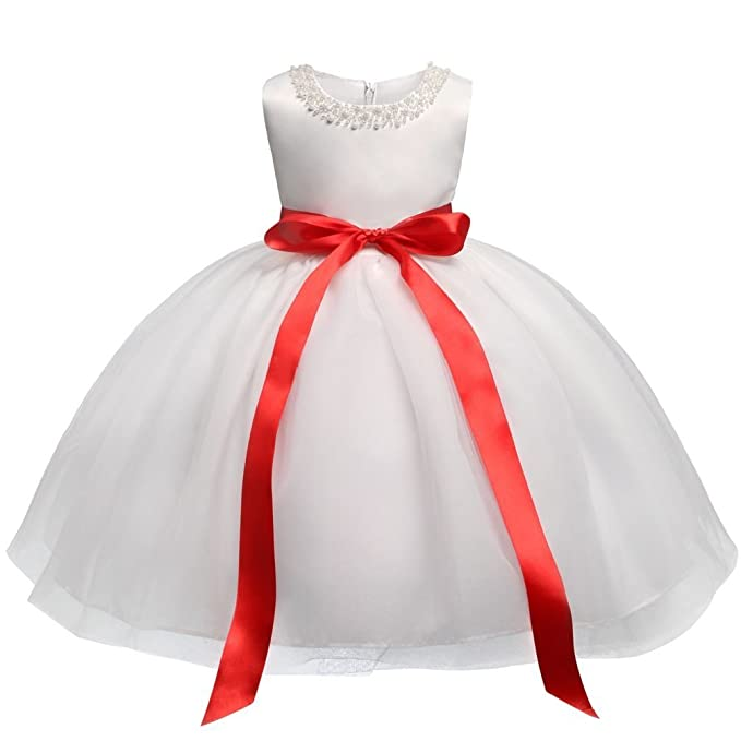 Suzzo Costume Series White Baby Girl Dress Wedding Gown 1 Years Birthday Infant  Dress Princess Baptism