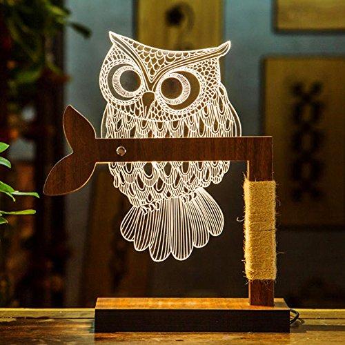 Owl Lamp 3D Night Lights Owl Decor Illusion Lamps, Night Lamps LED Optical Desk Table Lamp (Owl Lantern)