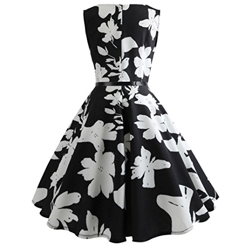 Style Cocktail Audrey Printed Swing Vintage 50s Rockabilly Dress Sleeveless Femme Party 1950's Hepburn Fathoit Noir Robe WvSqAA