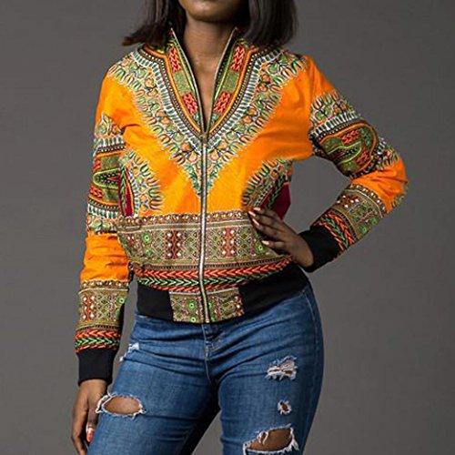 Malloom Jaune La Mode Dashiki Africain Longues Manches À Décontractée Femme Imprimé Veste q8wfnvSPS
