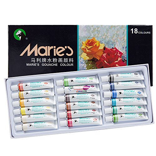 Marie's Extra Fine Gouache Opaque Watercolor Paint Set 12 ml Tubes - Assorted Colors - [Set of 18]