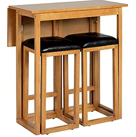 Top Space-Saving Breakfast Set - Includes Wooden Bar Table and Two  ER93