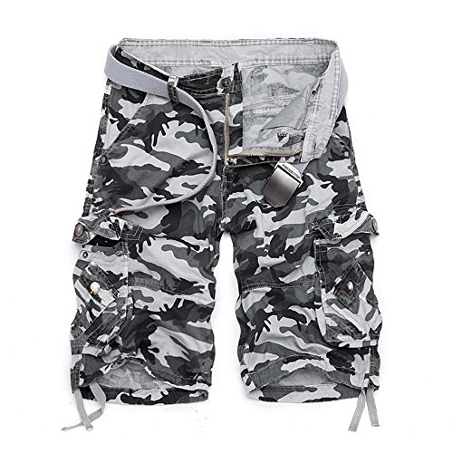 NiuZi Men's Casual Loose Fit Cotton Solid Multi Pocket Summer Cargo Camouflage Shorts Outdoor Wear Lightweight (34, 956 Light ()