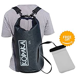 Waterproof Dry Bag Backpack (20L) by Kopaka - Lightweight Sports, Adventure Travel Bag with 2 Shoulder Straps (Black)