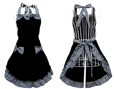 Hyzrz Cute Retro Lovely Vintage Lady's Kitchen Fashion Flirty Women's Aprons with Pockets Black Patterns for Mother's Day Gift