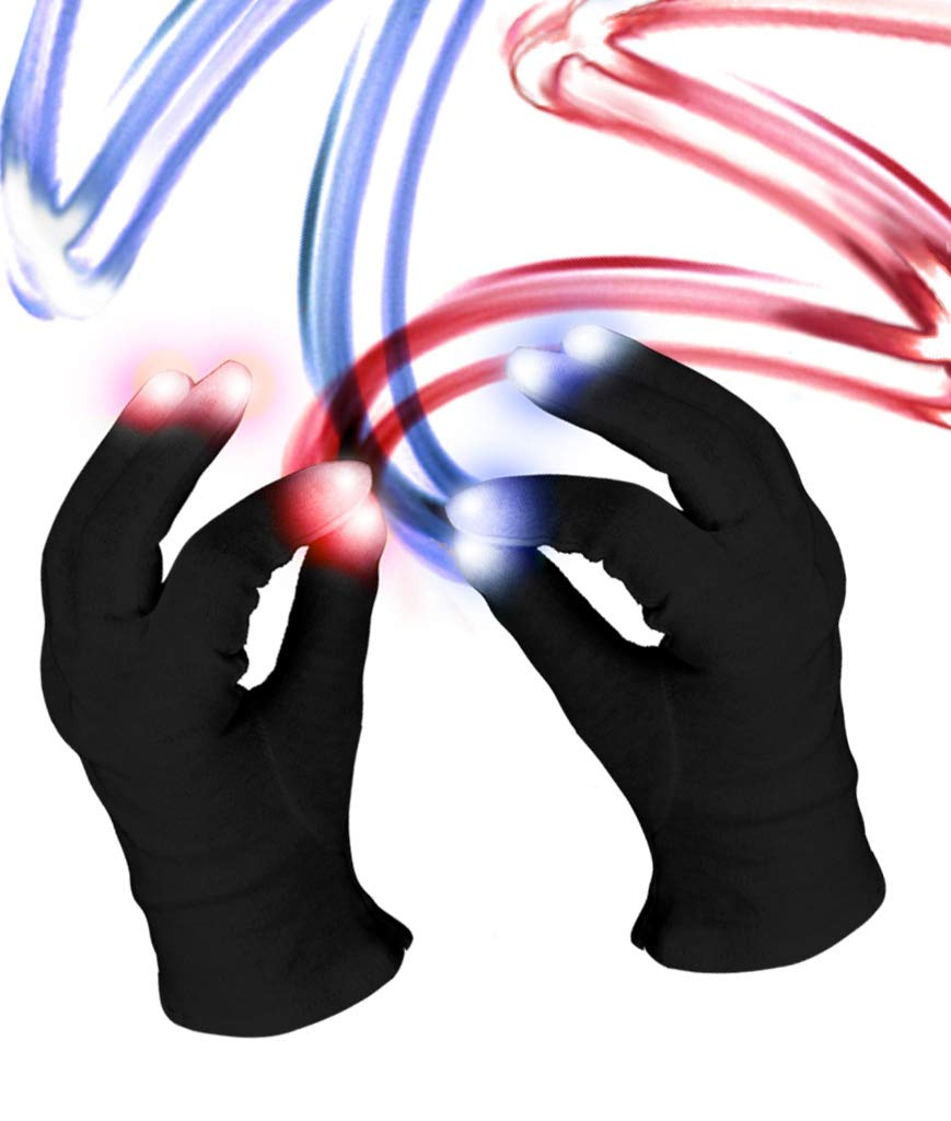 Fun Central C061 1 Pair LED Light Up Black Magic Gloves LED Rave Gloves LED Finger Gloves Light Up Rave Gloves
