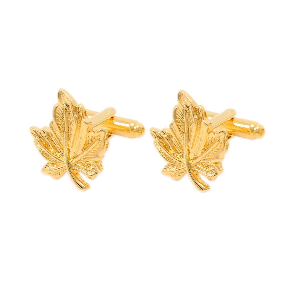 MonkeyJack Simple Tree Maple Leaf Gold Metal Cufflinks Mens Cufflinks Shirt Cuffs Gift