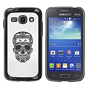 Shell-Star Arte & diseño plástico duro Fundas Cover Cubre Hard Case Cover para Samsung Galaxy Ace 3 III / GT-S7270 / GT-S7275 / GT-S7272 ( Floral Art Skull Death Biker Tattoo Ink )