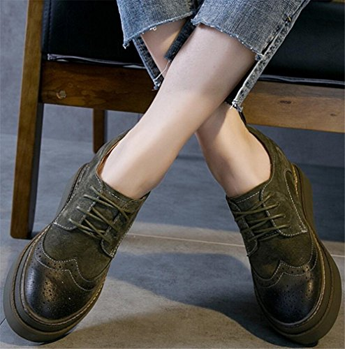 Oxford Shoes for Women,SATUKI Casual Platform Lace Up Wedges Heel Dress Shoe Green