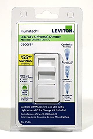 Leviton IPL06-10Z 4 Pack Universal Decora Dimmable LED CFL and Incandescent IllumaTech Slide Dimmer, White/Ivory/Light - Quiet Electronic Low Voltage Dimmer