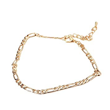 Fulltime(TM) Lady Simple Fashion Gold Metal Ankle Chain Bracelets Anklets (Gold)