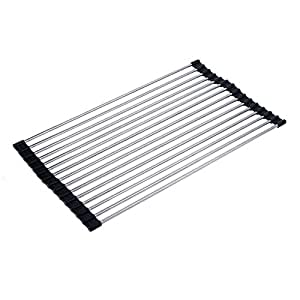 over the sink multipurpose roll up dish drying rack foldable stainless steel sink rack drying. Black Bedroom Furniture Sets. Home Design Ideas