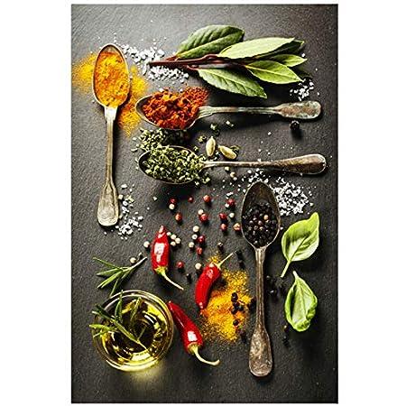 LJXIAOXINFBH Quadro su Tela Dipinti Grani Spezie Cucchiaio Peperoni Cucina Poster e Arte murale Immagine di Cibo Soggiorno 40x80cm Cornice Nera